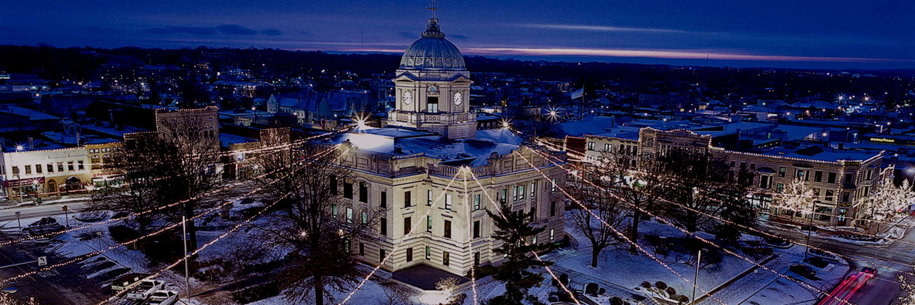 An overview look at downtown Bloomington, Indiana